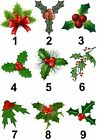 Holly Christmas Design Small or Large Sticky White Paper Stickers Labels NEW
