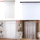 100cm x 270cm Flocking Floral Printed Sheer Wall Room Divider Curtain