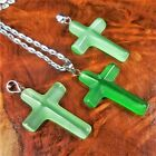 Cross Necklace Neon Green Cats Eye Pendant V55 Petite Colored Glass Charm