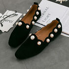 Women Fashion Genuine Leather Studded Pearls Slip On Flats Loafers Casual Shoes