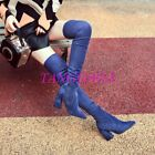 Womens Over the Knee Boots Block Heels Faux Suede Lace-up Vogue Chic Sexy Shoes