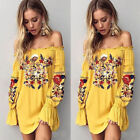 Women's Summer Casual Off Shoulder Floral Short Mini Dress Beach Party Sundress