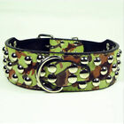 Camouflage New Studded PU Leather Large Pet Dog Collar Pitbull Durable Necklace