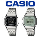 Casio Ladies Digital Wrist Watch Black/White Face Silver Stainless Steel Band