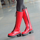 Womens Gladiator Shoes Knee High Boots Lace Up Motorcycle Platform Chunky Heels
