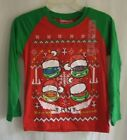 Boys Teenage Mutant Ninja Turtles Christmas Holiday Long Sleeve Shirt NWT