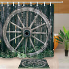 Old Wooden Cart Wheel Shower Curtain Bedroom Decor Waterproof Fabric