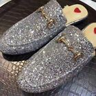 Women Fashion Sequins Princetown Loafers Mules Slide Metal Buckle Slippers Shoes