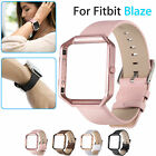 Genuine Leather Watch Band Strap Bracelet Stainless Steel Frame For Fitbit Blaze