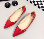Women Punk Studded Rivets Patent Leather Vintage Pointy Toe Wedge Low Heel Shoes