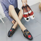 Womens Fashion Heart Slip Bee Buckles Flats Slipper Loafers Mules Slip On Shoes