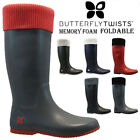 NEW BUTTERFLY TWIST LADIES FOLDABLE RAIN SNOW FESTIVAL WELLIES WELLINGTON BOOTS