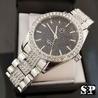 MEN'S HIP HOP WHITE GOLD PT LUXURY WATCH & 1ROW TENNIS BRACELET COMBO GIFT SET