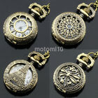 Mens Ladies 1 inch Dial Antique Pocket Watch with Chain Pendant Necklace US image