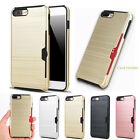 Hard Armor Case Cover With Slide Card Slot Holder For iPhone 8 7 6S Plus 7 Plus