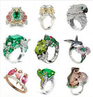 925 Silver Animal Emerald White Topaz Woman Men Wedding Bridal Ring Size 6-10