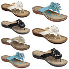 Kyпить LADIES WOMENS FLOWER MULES FLAT SUMMER SANDALS FLIP FLOPS BEACH SHOES SIZE 3-8 на еВаy.соm