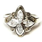 (SIZE 7,8) Radiant Marquise-Cut CZ STONES RING Marcasite .925 STERLING SILVER