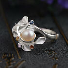 Pearl Beauty 925 Silver Fashion Women Jewelry Engagement Wedding Ring Size 6-10