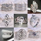 925 Silver Woman Men White Topaz Infinity Jewelry Wedding Engagement Ring Sz6-10