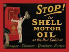 STOP FOR SHELL MOTOR OIL - RETRO VINTAGE NOSTALGIC GARAGE METAL PLAQUE SIGN 778