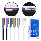 1Pc 1M LED Magnetic Aluminum Metal USB Charger Cable For Sony XPERIA Z1 Z2 Z3 UK