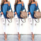 Fashion Women Ladies Summer Loose Casual Cotton Long Sleeve Shirt Tops Blouse US