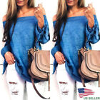 Fashion Women Off Shoulder Top Long Sleeve Casual Blouse Loose T-shirt US Seller