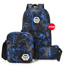3Pcs Nylon Backpack Men Women USB Charging Laptop School Travel Bag for Teenager