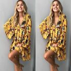 Us Women Summer Boho Floral Maxi Dress Beach Party Cocktail Sundress Short Dress