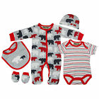 5 Piece Baby Boys Clothing Outfit Layette Gift Set in Grey/Red Polar Bear Print