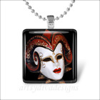 VENETIAN RAMS HEAD DRAMA MASK GLASS PENDANT NECKLACE