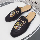 Womens Princetown Horsebit Backless Embroidery Tiger Slipper Flats Mules Loafers
