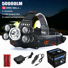 50000LM 5x XM-L L2 LED Headlamp Rechargeable Headlight 18650 Charger Light Kits