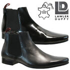 MENS LAWLER DUFFY LEATHER CHELSEA CASUAL OFFICE SMART FORMAL BROGUE SHOES SIZE
