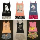 Primark Ladies Cami Vest & Shorts Pyjamas Pj's Summer Pajama Set New Uk 6 - 20