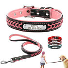 Braided Personalized Pet Dog Collar and Leash Set Engraved Padded for Dogs S M L