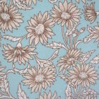 Antique Daisy - Aqua Blue - Cotton Fabric Patchwork Sewing Dress Making