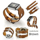 For Apple Watch 38/42 Double Buckle Cuff Genuine Leather Herme Band Bangle Strap