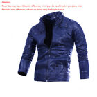 MEN PU LEATHER JACKET FASHION FIT BIKER MOTORCYCLE JACKET BLACK&BROWN Asian Size