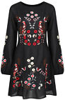 New Ladies Black Long Sleeve dress Floral Embroidered Button Blouse Top