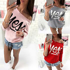 2017 Fashion round neck  yes printed off shoulder women t shirt red gray pink