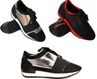 New Women Ladies Mesh Lace Up Two Tone Sneakers Trainers Gym Shoes Flat Metallic