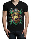 Men's King Of Weed Lion V-Neck Black T Shirt Reggae Rasta Blunt Kush Marijuana