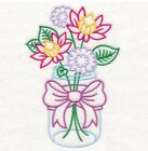 Embroidered 18x28 Flour Sack Kitchen Towel MASON JAR FLOWERS 5 Choices!