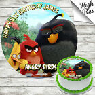 ANGRY BIRDS MOVIE ROUND EDIBLE BIRTHDAY CAKE TOPPER DECORATION PERSONALISED
