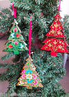 WOODEN CHRISTMAS TREE Hanging Decoration Hand Painted Fair Trade INDIA - D