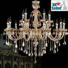 Genuine K9 Crystal Chandelier CHAMPAGNE Maple Leaf 6, 8, 10, 8+4,10+5 Arm Lights