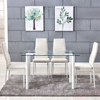 Dining Table & Chairs White Faux Leather Tempered Glass Dining Room Furniture