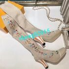 Womens High Heel Knitting Wool Socks Over Knee High Boots Embroidery Stretch New